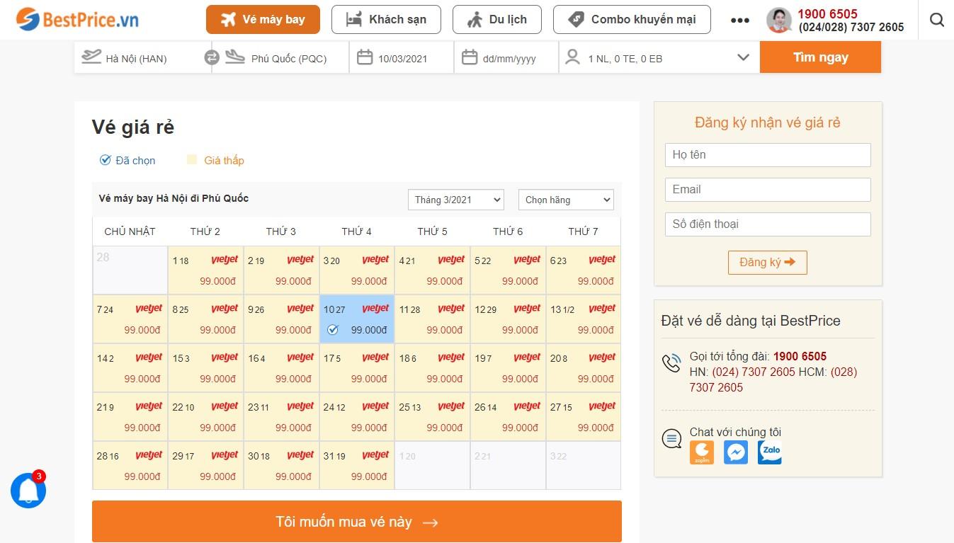 Bảng vé máy bay đi Phú Quốc giá rẻ theo tháng