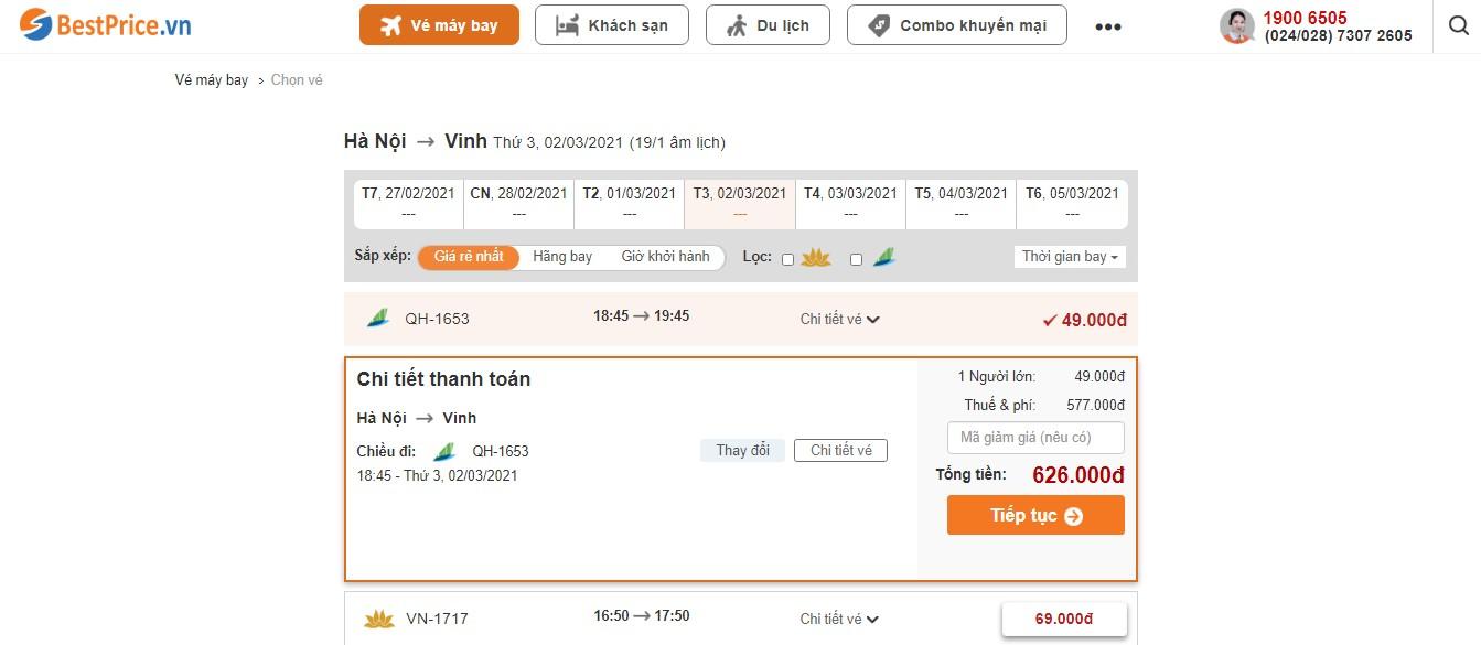 Giá vé máy bay đi Vinh tháng 3