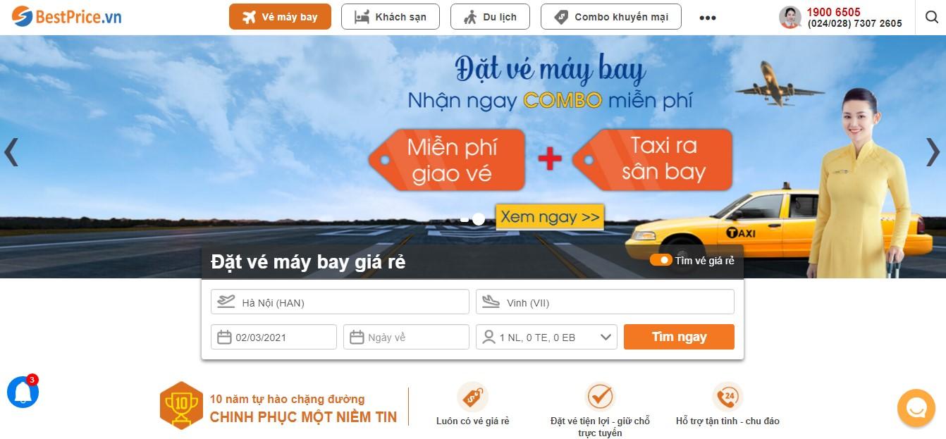 Giao diện săn vé máy bay giá rẻ đi Vinh tại bestprice.vn