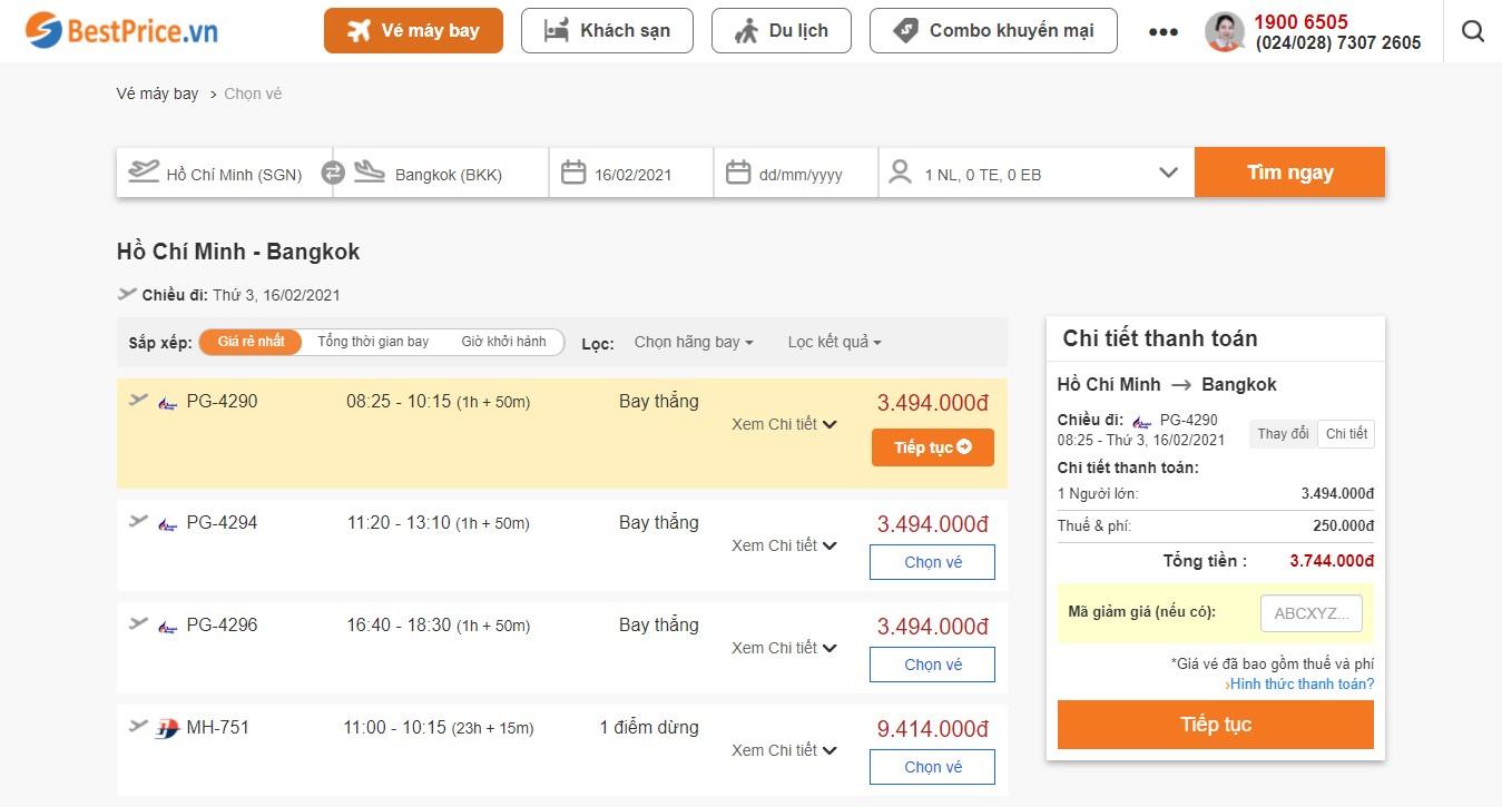 Săn vé máy bay giá rẻ đi Bangkok tháng 2