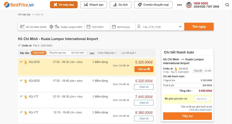 Giá vé máy bay đi Kuala Lumpur tháng 1