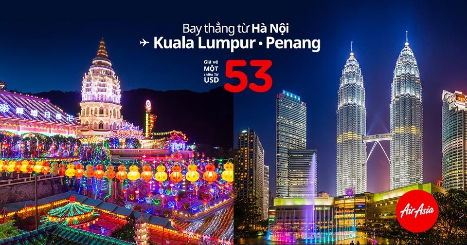 Săn vé máy bay giá rẻ đi Kuala Lumpur theo khuyến mại của AirAsia