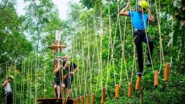 Vé Zipline + đi bộ trên dây Highwire tại Suối khoáng nóng Alba Thanh Tân