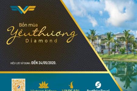 Voucher Diamond 3N2Đ: Phòng Vinpearl + Vé máy bay Vietnam Airlines+ Vé vui chơi