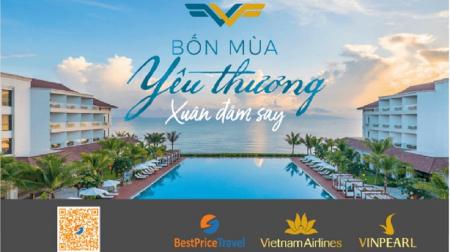 Voucher Xuân Đắm Say 3N2Đ cho 2 người: Phòng Vinpearl + Vé máy bay Vietnam Airlines